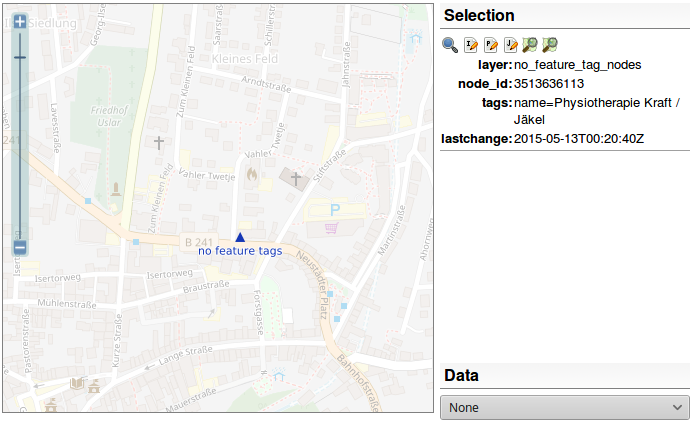 screen shot of OSM Inspector showing a node which onyl has a name tag