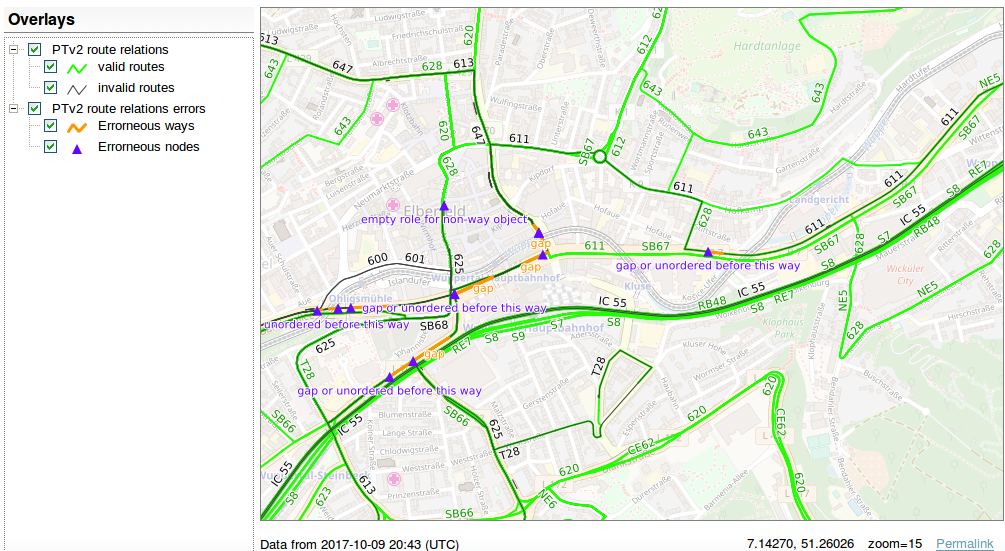 "screenshot of view ""Public Transport - Routes"" in Wuppertal-Elberfeld, Germany"