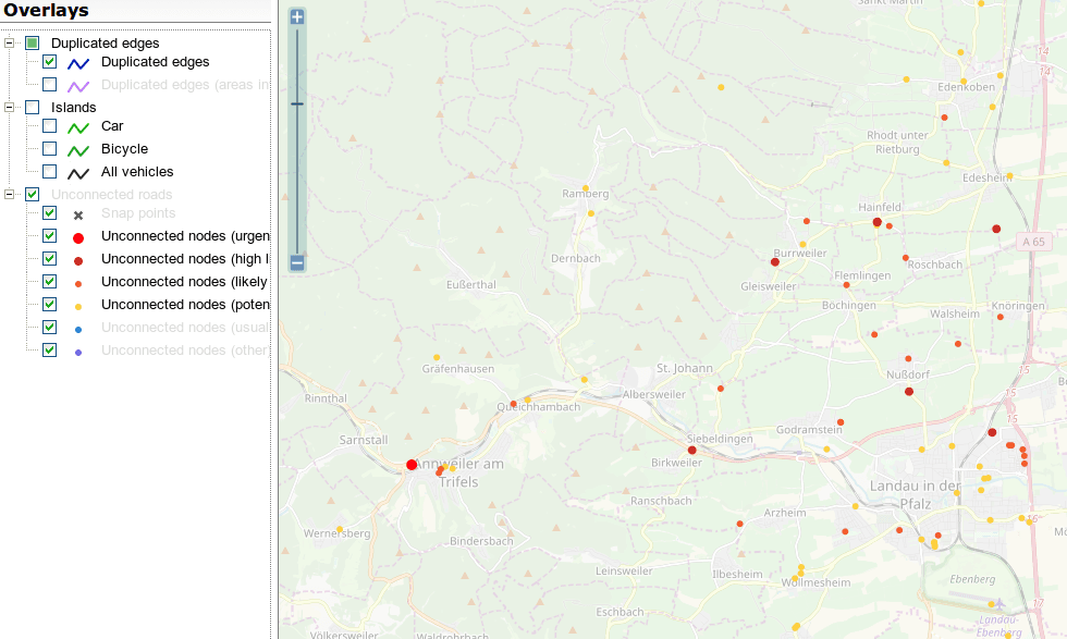 Screenshot of the OSM Inspector Routing view around Landau/Pfalz, Germany